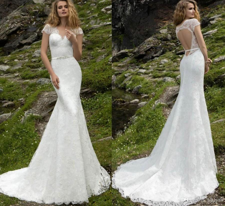 Mariage - New Arrival Lace Sexy Mermaid Wedding Dresses Cap Sleeve V Neck Beaded Sash Backless Bridal Gowns Appliqued Outdoor 2017 Wedding Gowns Dress Lace Luxury Illusion Online with $166.86/Piece on Hjklp88's Store