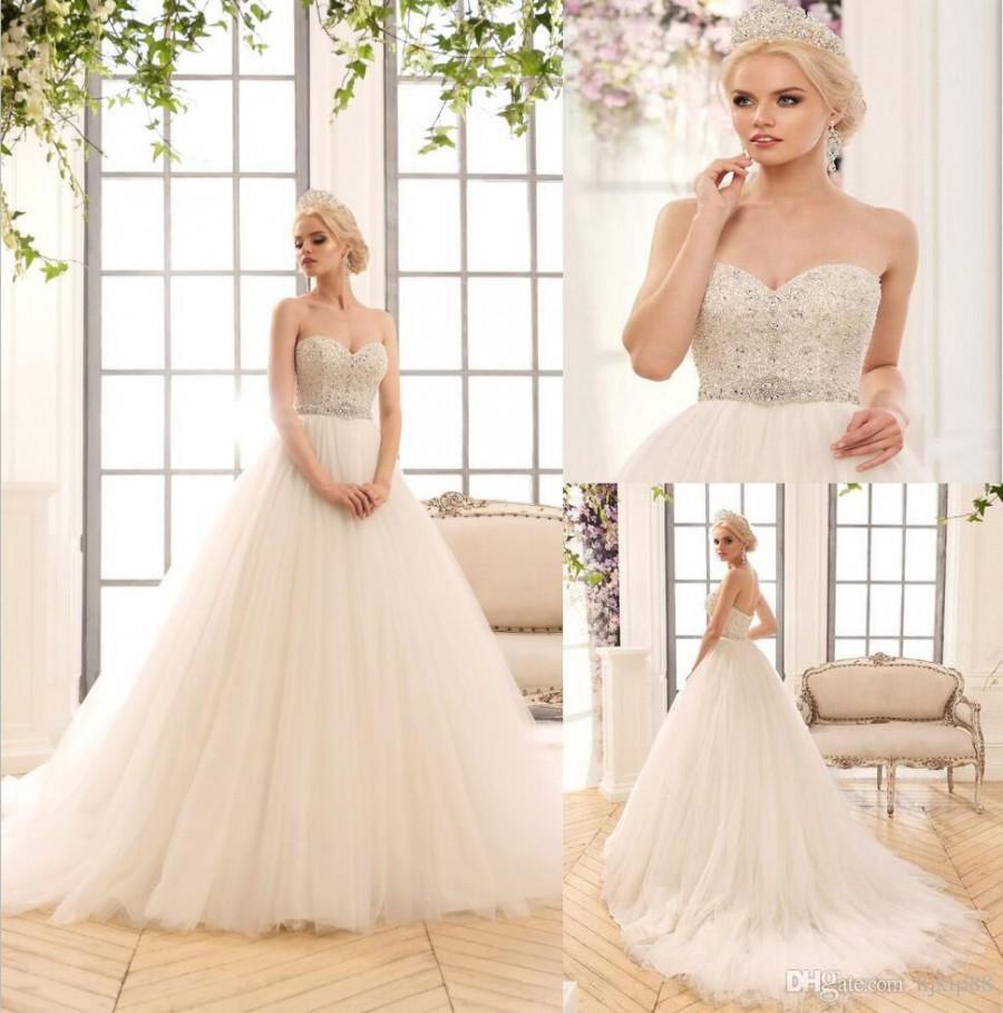 Wedding - 2017 New Sweetheart Strapless A-Line Wedding Dresses Luxury Tulle Beaded Sash Wedding Dress Bridal Gowns Zipper Lace Luxury Illusion Online with $165.72/Piece on Hjklp88's Store