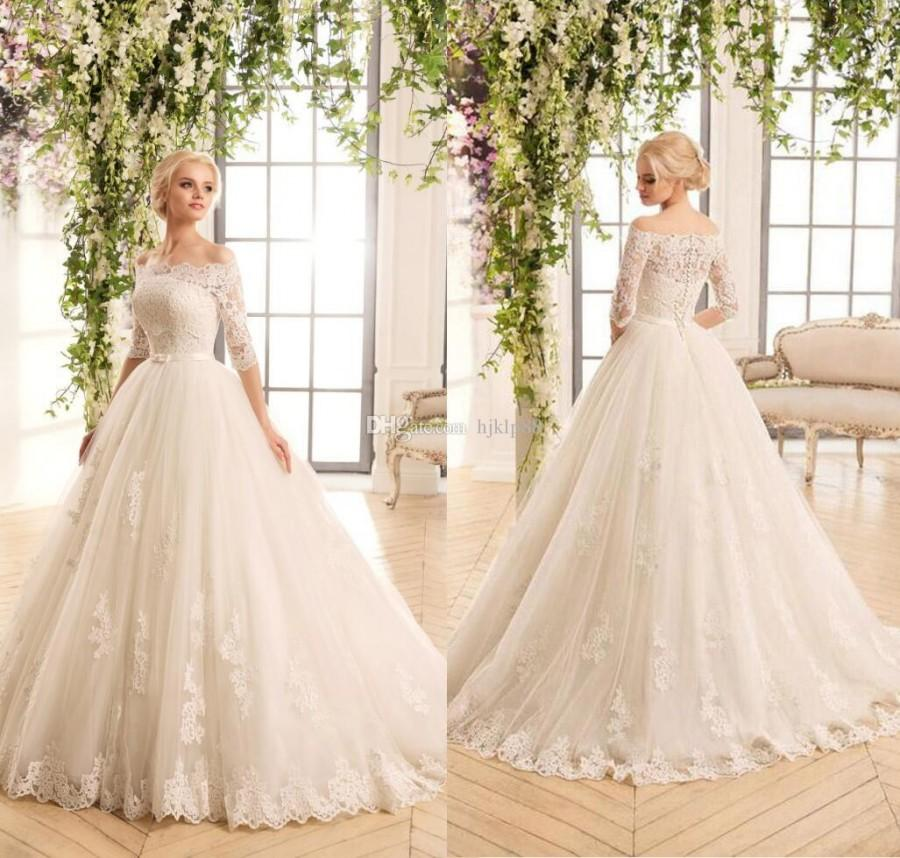 Свадьба - New Two Pieces Detachable Bodice A-Line Lace Wedding Dresses Tulle Applique Lace Vintage Strapless Wedding Dress Bridal Gowns Lace-up Button Lace Luxury Illusion Online with $162.29/Piece on Hjklp88's Store