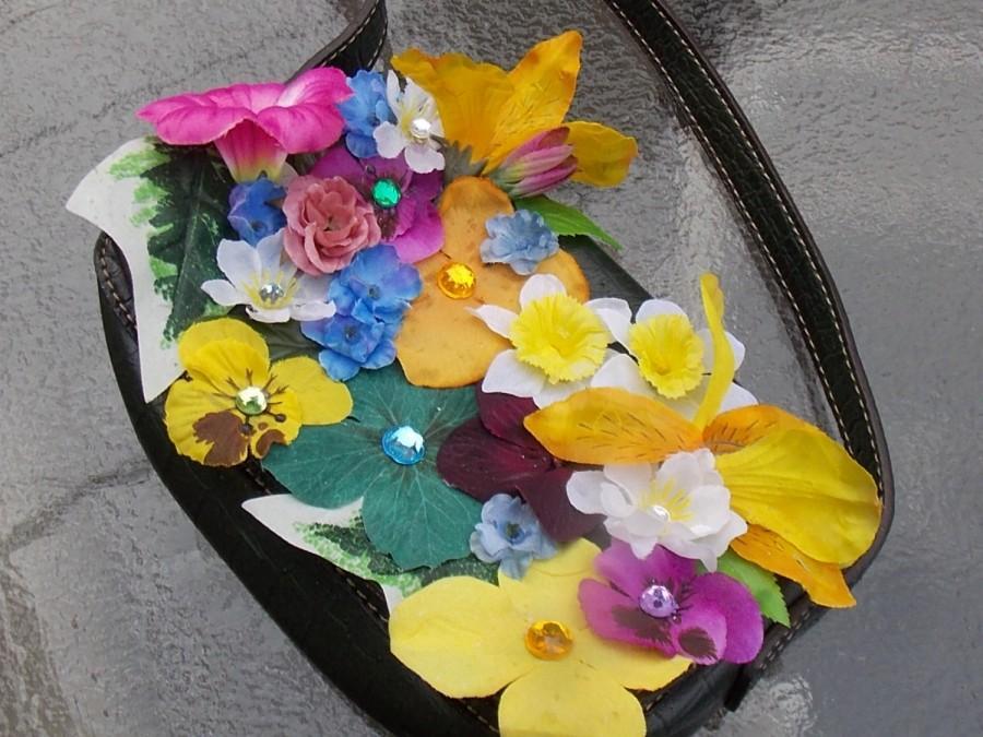 Mariage - Flowergirl Purse from Recycled Handbag, Fairy Garden Purse, Bridesmaid Bag, Fairy Handbag, Flowery Bag, Fairy Festival Bag, Boho Accessory