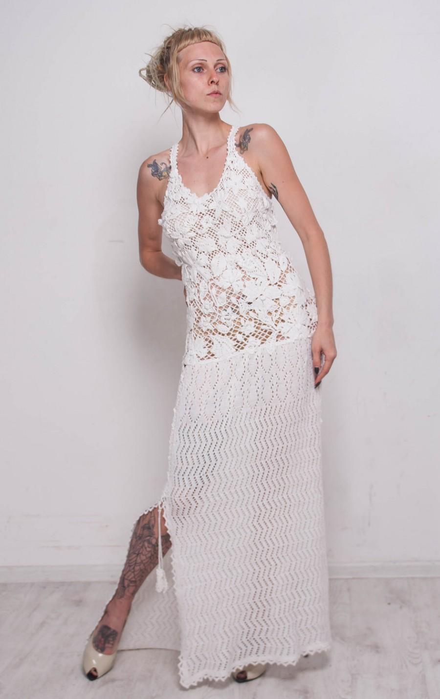 Mariage - Crochet white dress KNIT wedding Dress White Viscose Dress Maxi Dress Crochet white Dress IVORY dress Beach White SunDress Bridal Maxi Dress