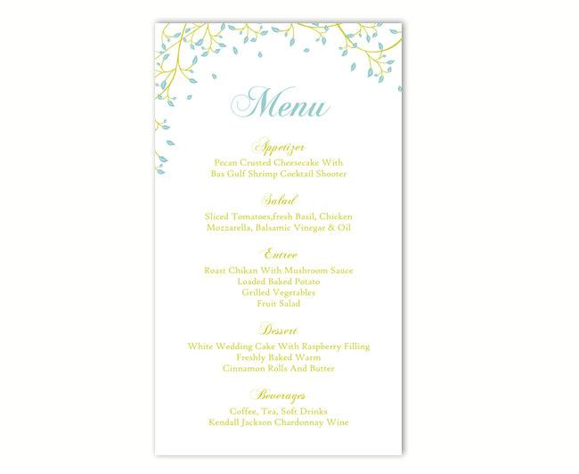 Mariage - Wedding Menu Template DIY Menu Card Template Editable Text Word File Instant Download Green Menu Leaf Menu Template Blue Printable 4x7inch