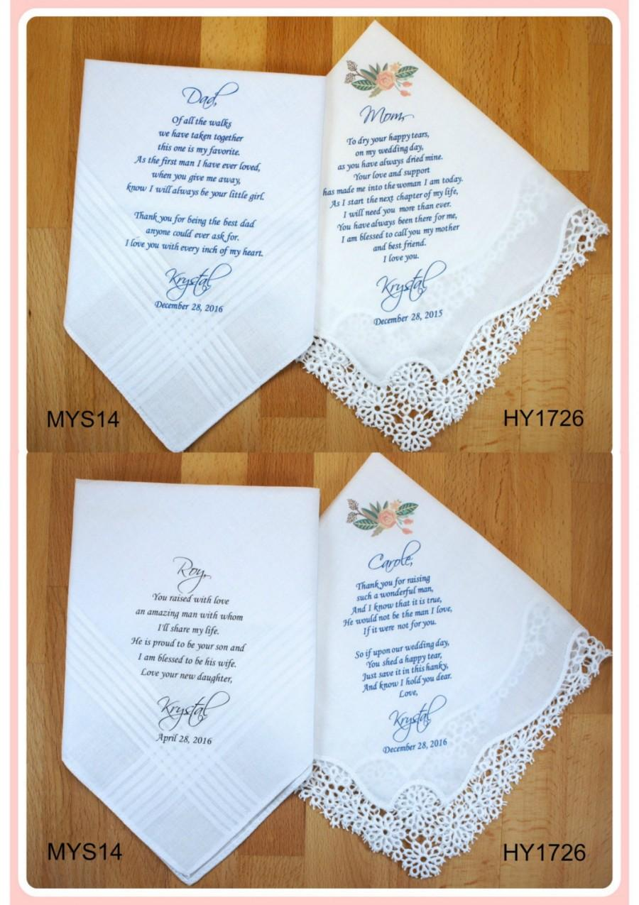 Hochzeit - Set of 4 Wedding Handkerchief-Mother of the Bride-Father of the Bride-Mother of the Groom-Father of the Groom-5% OFF-Parents Wedding Gift