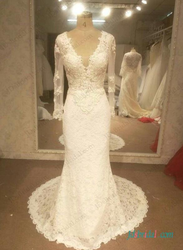 Mariage - H1262 Sexy open back long sleeved lace mermaid wedding dress