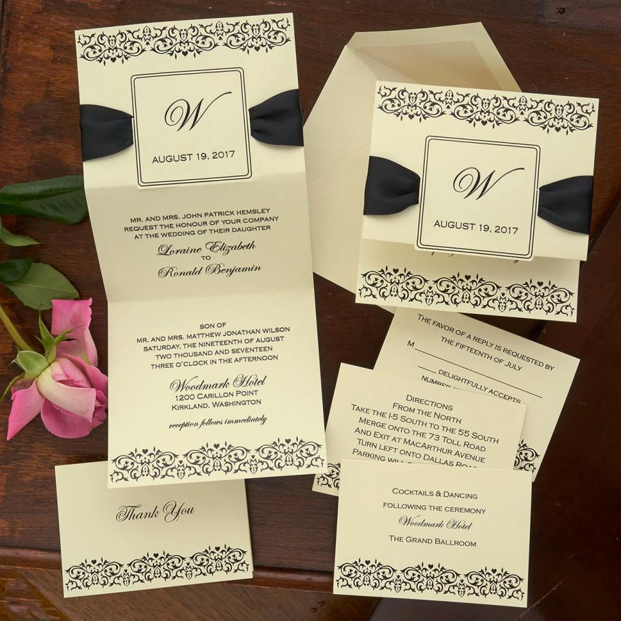 زفاف - Damask Frame Wedding Invitation Set - Thermography Wedding Invite - Classic Wedding Invite - Traditional Wedding Invite Suite - AV4363
