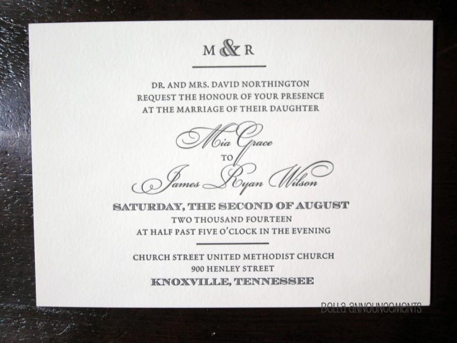 زفاف - 150 (Quantity) - Letterpress Wedding Invitations , Black and Ivory