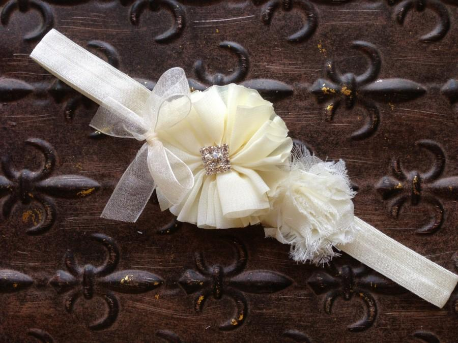 Mariage - Flower Girl Headband, Ivory Flower Girl Headband, Ivory Baptism Headband, Ivory Flower Girl Head Piece, Ivory Flower Girl Head Wreath