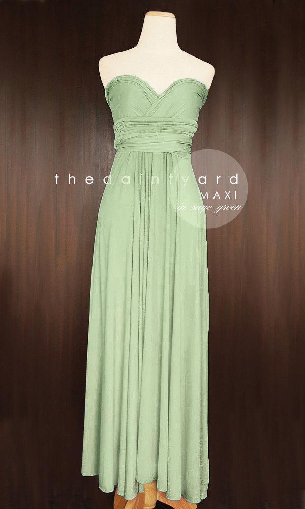 Wedding - MAXI Sage Green Bridesmaid Dress Convertible Dress Infinity Dress Multiway Dress Wrap Dress Wedding Dress Prom Dress Long Full Length Dress