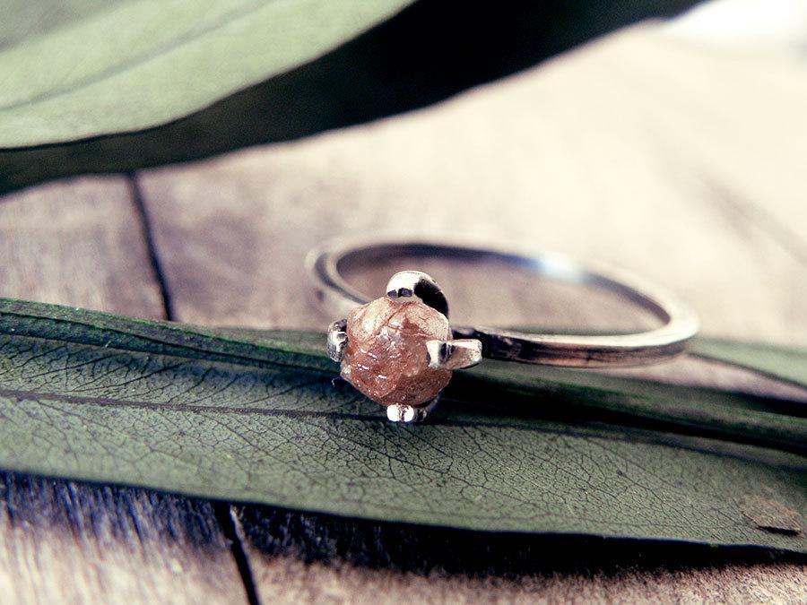Mariage - Raw diamond ring, red diamond ring, diamond ring, promise ring, engagement ring, raw stone, rough diamond ring, natural diamond, rings set