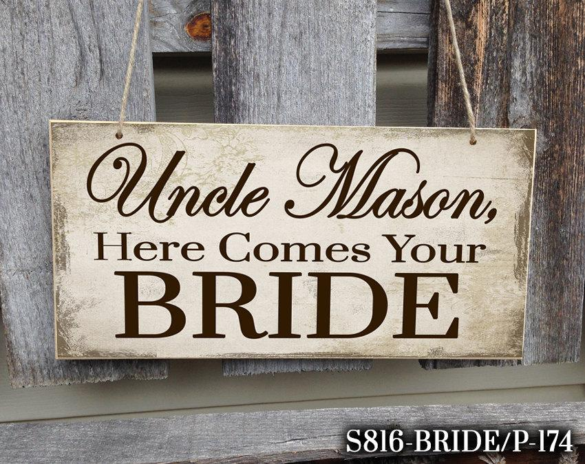 Свадьба - Personalized Here Comes Your Bride Sign, Here Comes Your Bride Sign, Wedding Sign, Here Comes The Bride, Ring Bearer Sign, Personalized Sign
