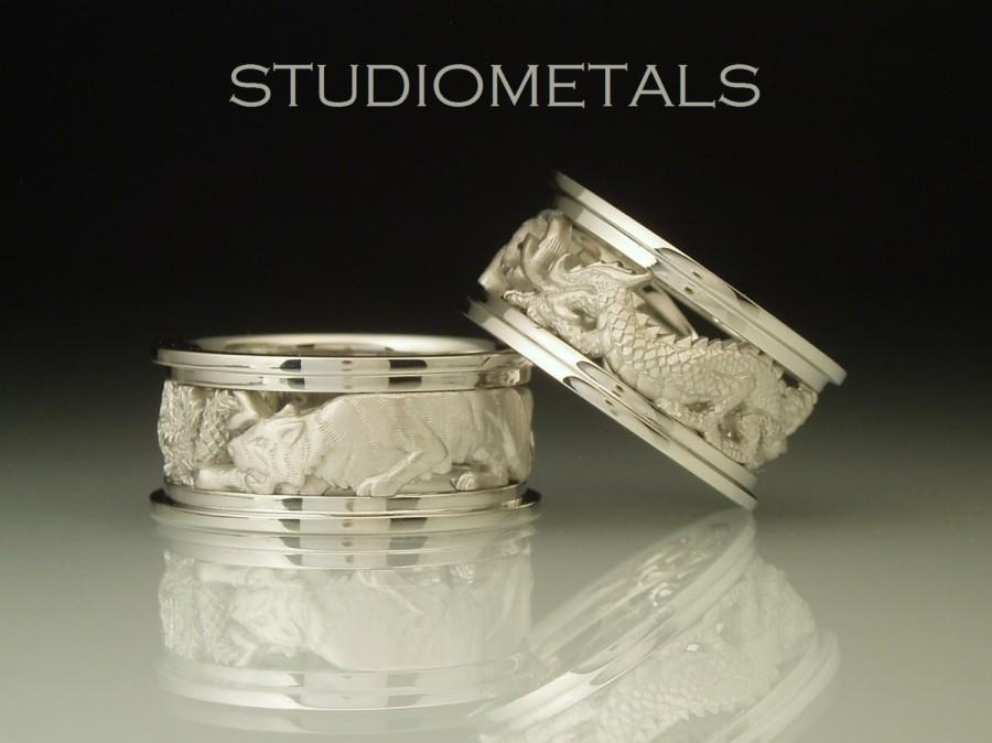 Chinese Zodiac Rings Dragon And Tiger Ring Unique Wedding Bands Cool Mens Matching White Gold Band R135