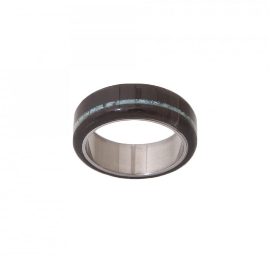 Mariage - Titanium turquoise and  Black horn ring - black wedding band - Turquoise antler ring - black horn ring