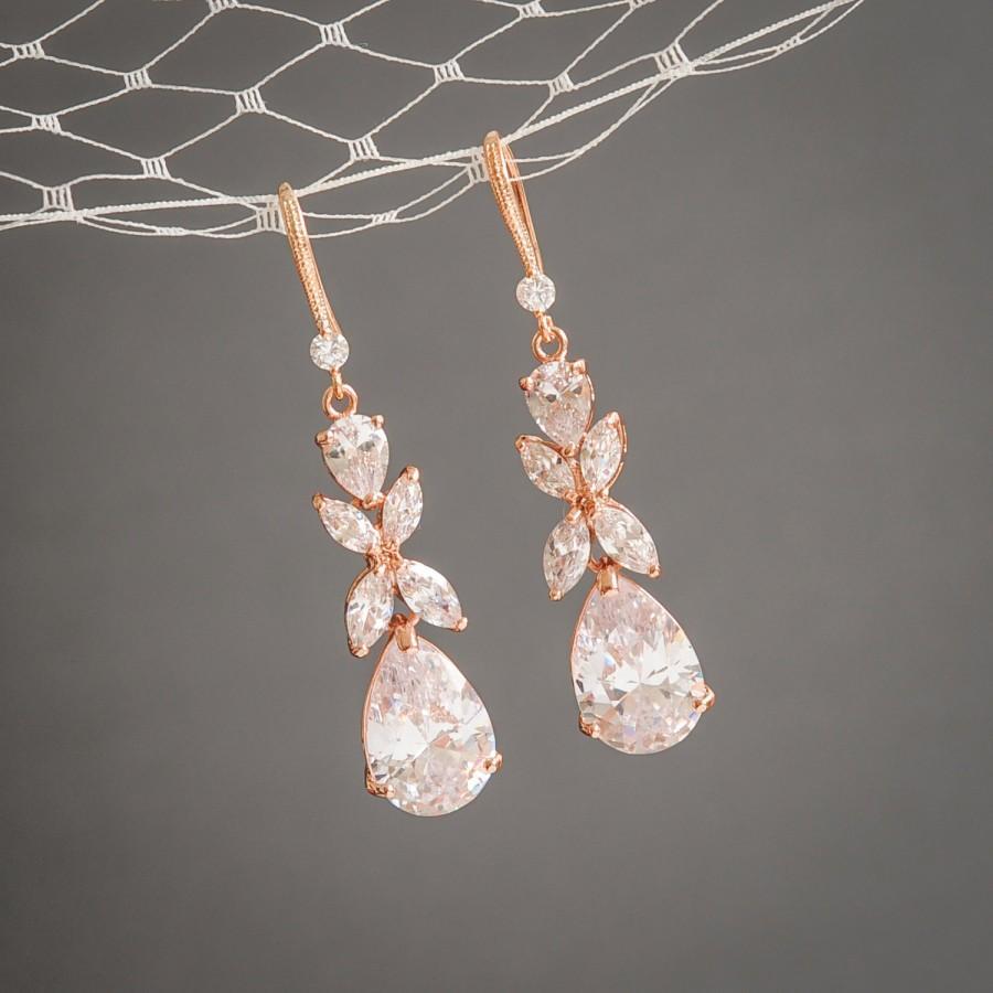 Rose Gold Wedding Earrings Crystal Bridal Clover Leaf Dangle Drop Statement Jewelry Teardrop Harriet