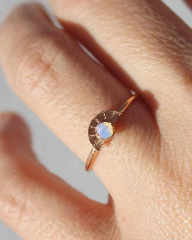 Mariage - Raw Opal Ring, Rose Gold Promise Ring, Girlfriend Gift, Opal Rosegold Ring, Wife Gift, Rose Gold, Gifts, Moonstone, Stack  Ring
