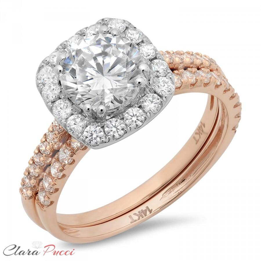 Mariage - 2.10 CT Round Engagement Ring band Bridal set Solid 14k Rose/White Gold Made and Designed in the USA