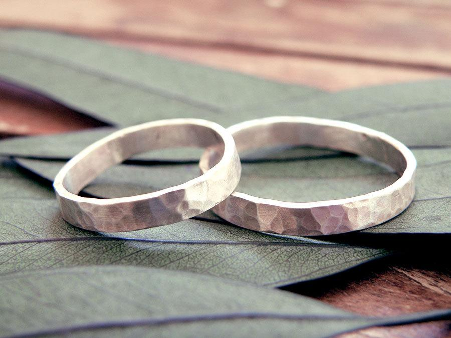 Wedding Rings Set Wedding Band Set Organic Wedding Rings Rustic