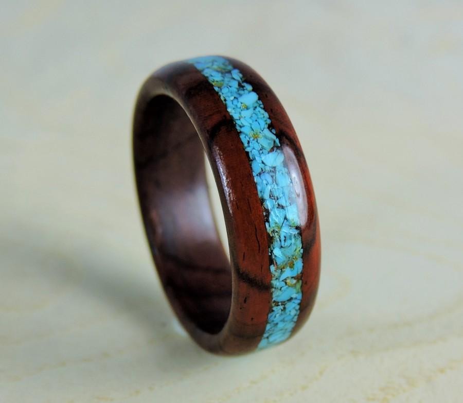 wood ring wedding ring turquoise ring cocobolo and. Black Bedroom Furniture Sets. Home Design Ideas