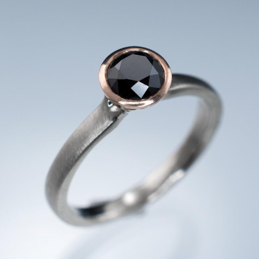 Wedding - Black Diamond  Engagement Ring, 14k Rose Gold Bezel Solitaire with Palladium, Platinum or White Gold Band, Modern Mixed Metal Ring