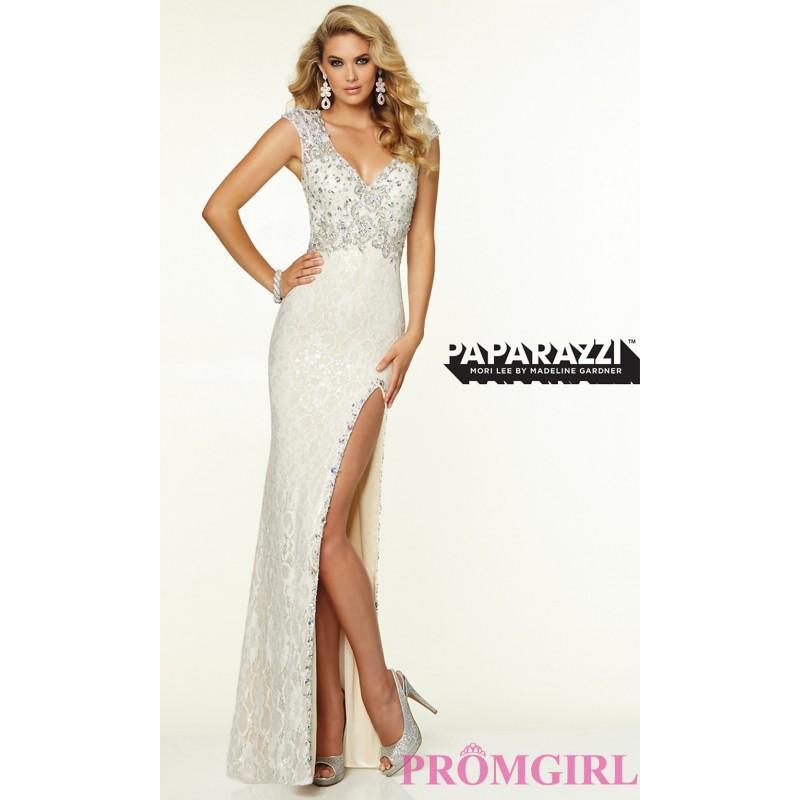 Mariage - Floor Length V-Neck Cap Sleeve Dress by Mori Lee - Brand Prom Dresses