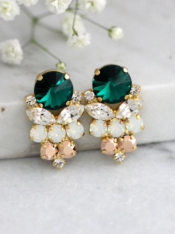 Свадьба - Emerlad Earrings, Emerlad Green Swarovski Earrings, Bridal Emerlad Earrings, Gift For Her, Bridal Dark Green Earrings, Green Bridal Studs