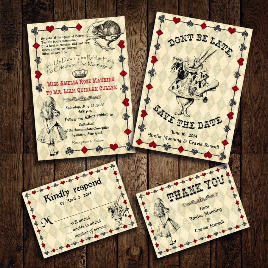 Printable Alice In Wonderland Wedding Invitation Set