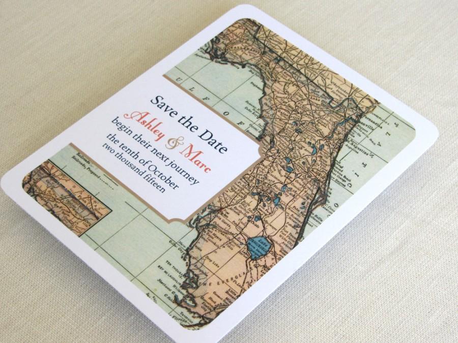 زفاف - Florida Wedding Save the Date Postcard - Vintage Map - Destination Travel Theme
