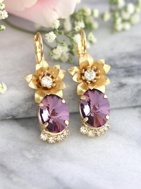 Antique Pink Earrings Bohemian Purple Swarovski Bridesmaids Flower Bridal Drop