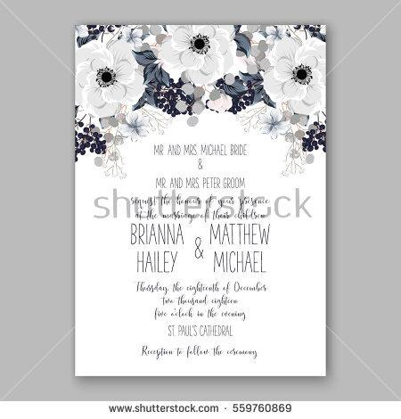 Wedding - Wedding Invitation Floral Bridal Shower Invitation Wreath with pink flowers Anemone, Peony, wild privet berry, vector floral illustration in vintage watercolor style