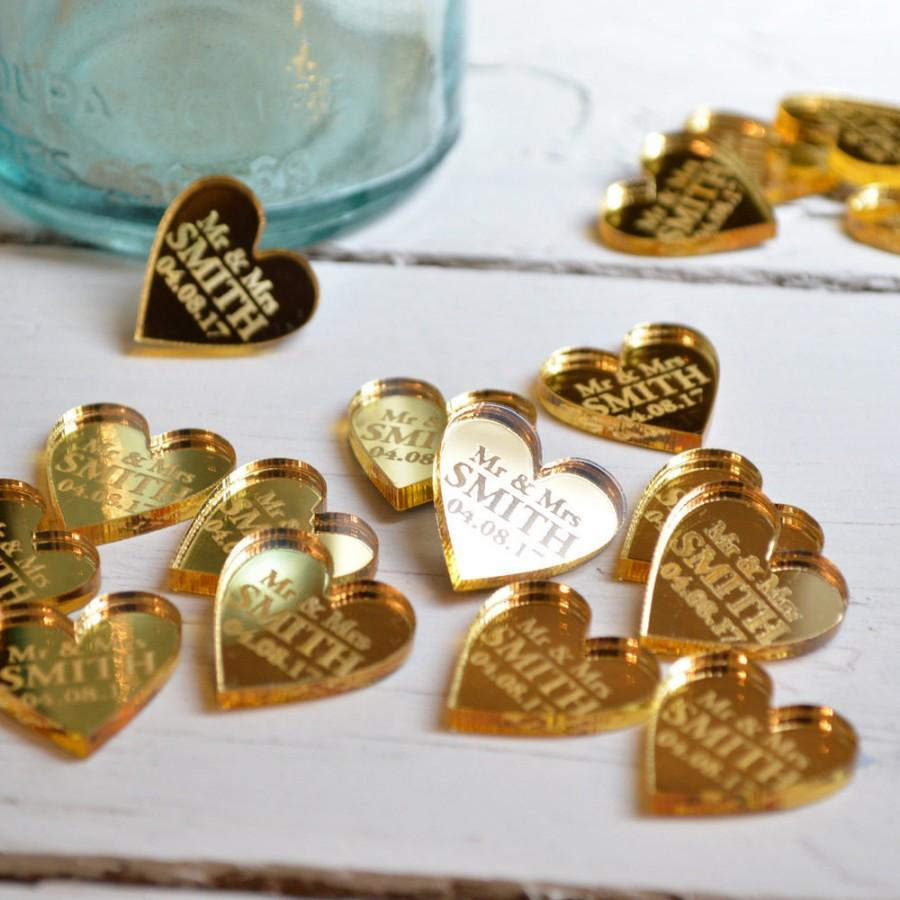 50 Personalised Heart Wedding Table Centerpiece Decorations Favours 2CM