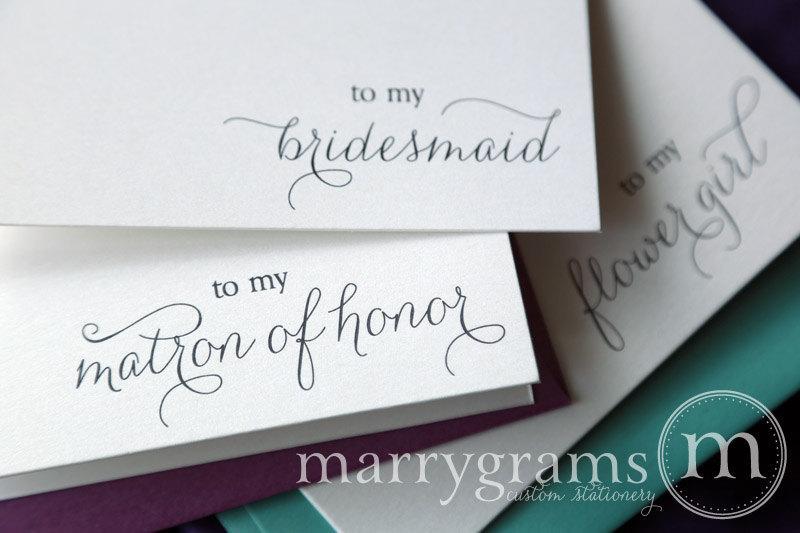 زفاف - To My Bridesmaid Card - Matron of Honor, Maid, Junior, Flower Girl, House Party, Bridesman, Man of Honor, Groomsman Card - CS01 Single