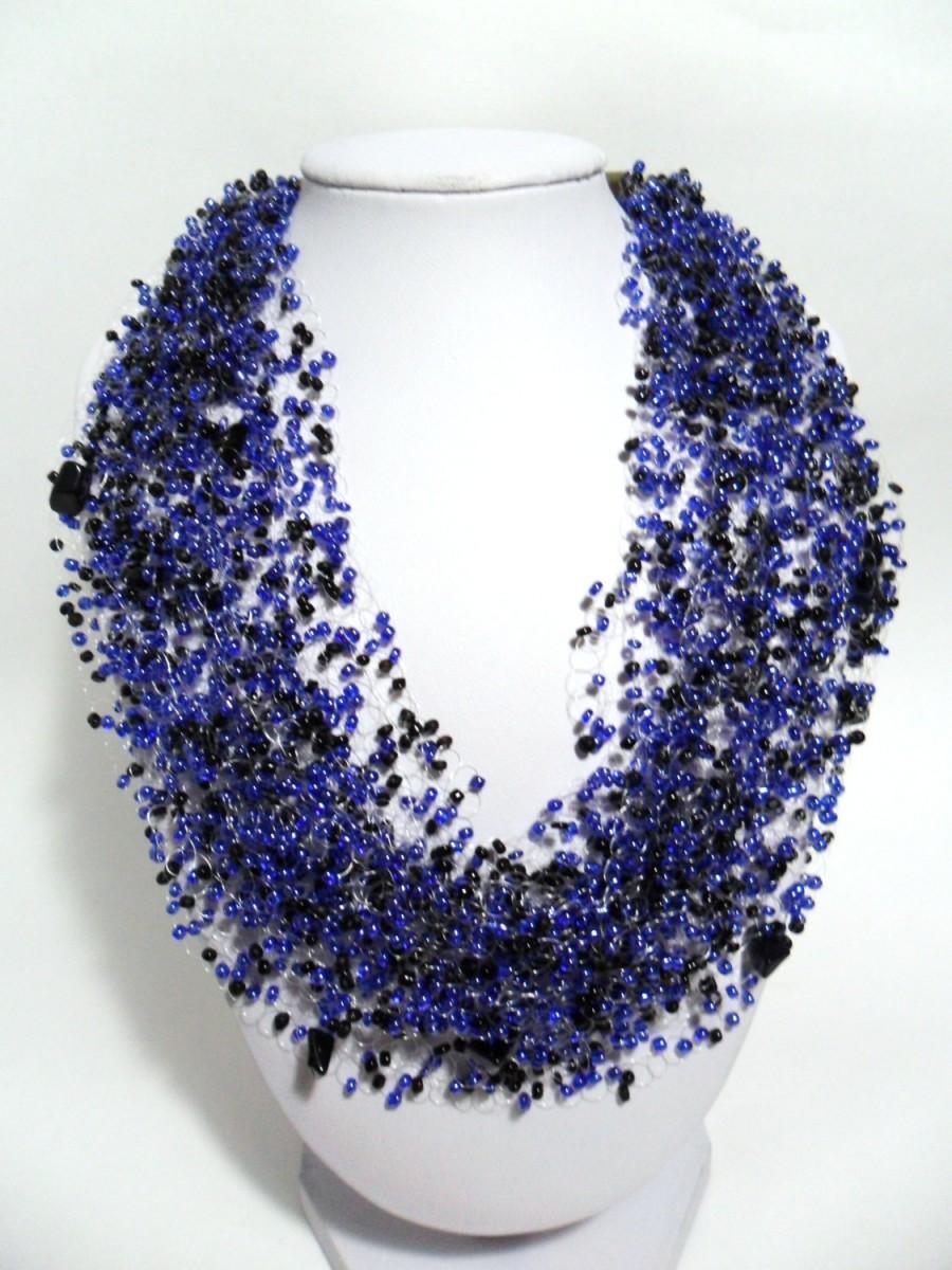 Hochzeit - Valentines day gift Blue aventurine multistrand statement necklace airy crochet cobweb unusual beadwork bridesmaid casual gift idea beaded