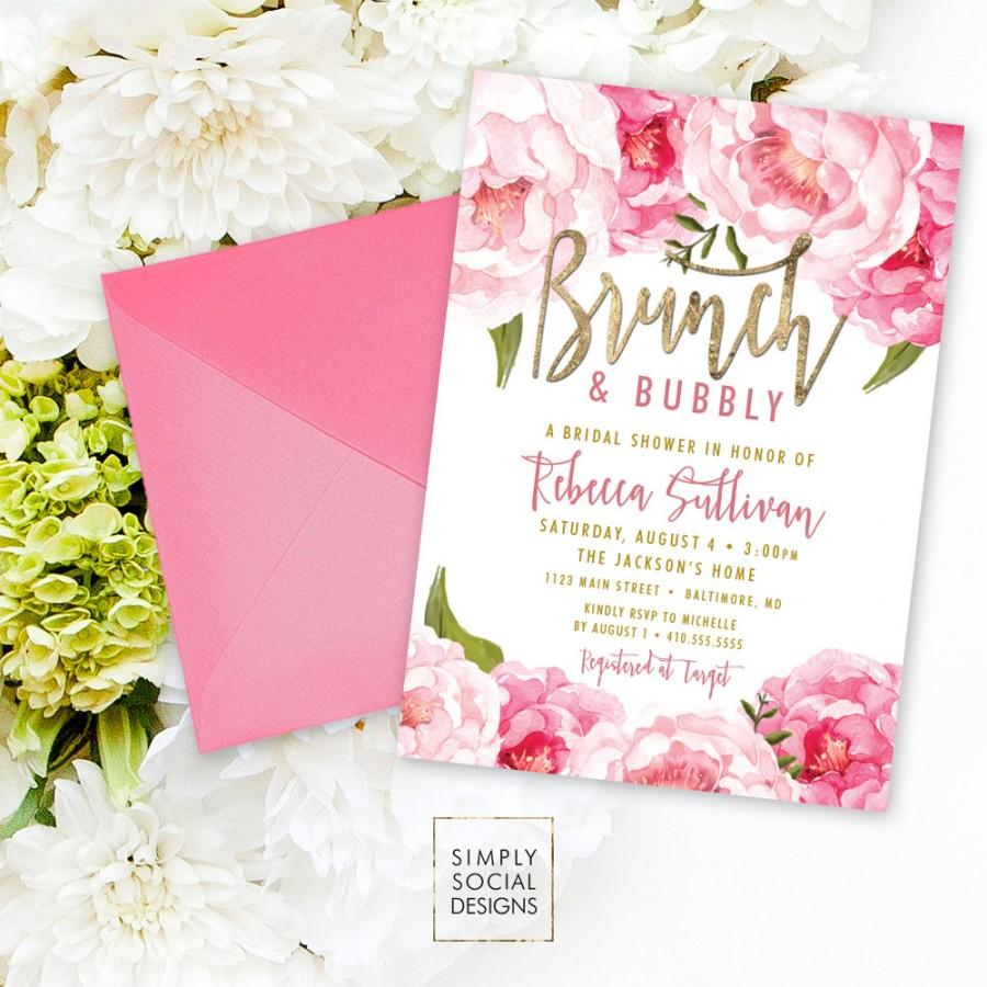 Свадьба - Brunch and Bubbly Bridal Shower Invitation - Pink Peony Ranunculus and Faux Gold Foil Watercolor Floral Boho Shower Invitation Printable