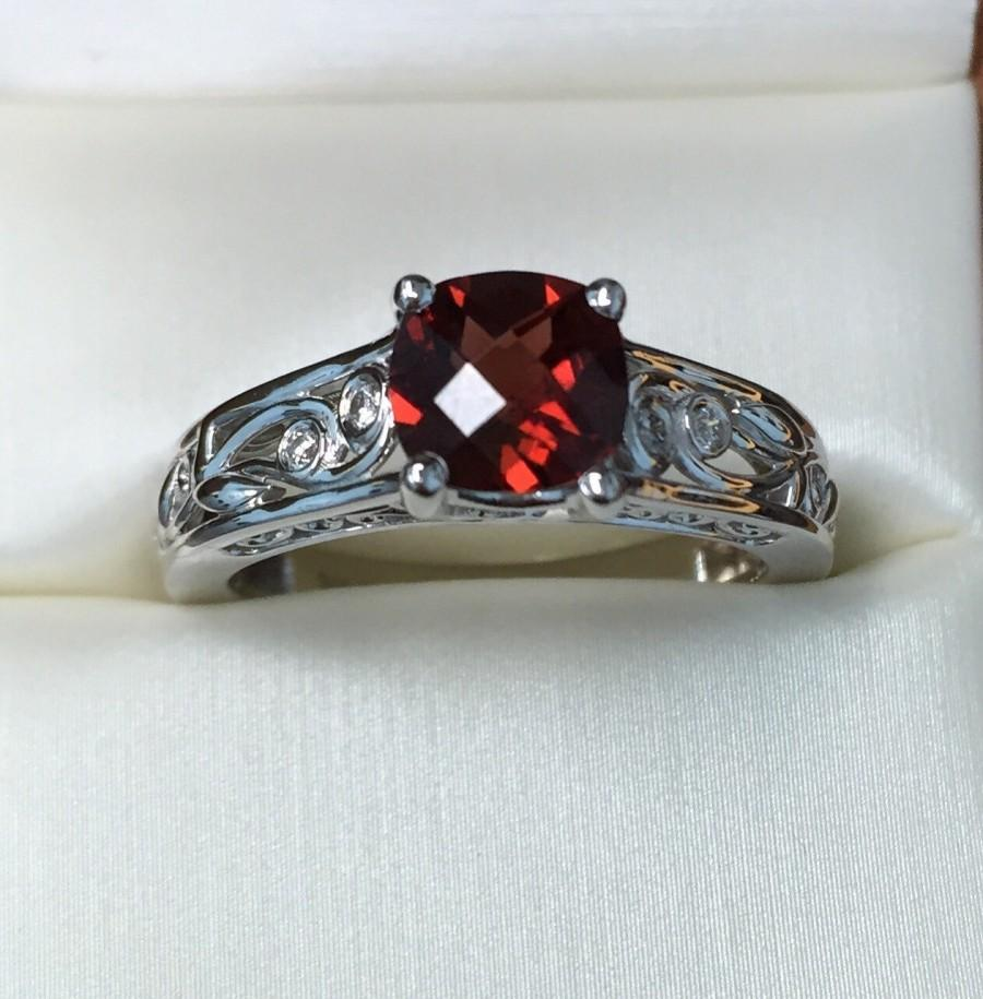 Hochzeit - Diamond Wedding and Engagement Ring, Anniversary Ring, Euro Shank Engagement Ring, Cushion Shape Red Garnet Stone Ring, Bridal Diamond Ring