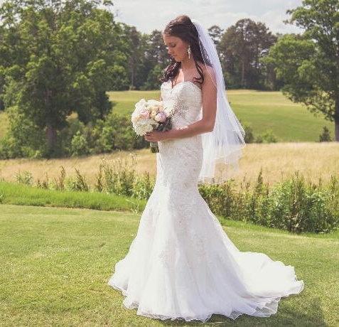 Hochzeit - Wedding Veil Fingertip Swarovski Crystal Rhinestone Silver Pencil Edge Trim 2 Tier Bridal Veil The Sebrina Veil