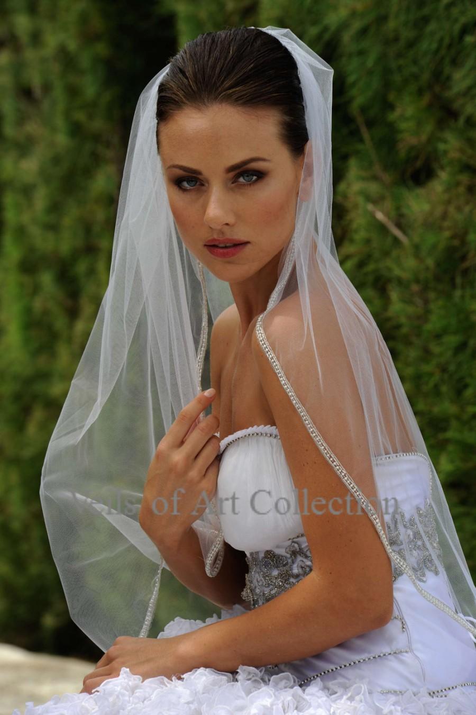 Свадьба - Designer One Tier Embroided Bridal Wedding Veil Fingertip Style VE305 NEW CUSTOM VEIL