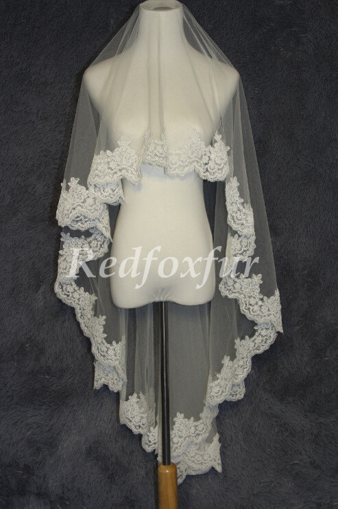 Mariage - Fingertip Length Wedding Veil Single Tier Veil Edged With Alencon Lace Bridal Veil