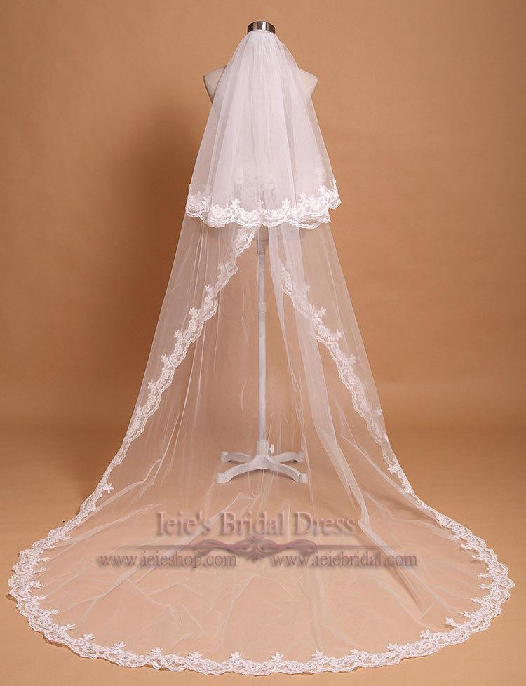 Mariage - Chapel Length Two Tier Lace Wedding Veil