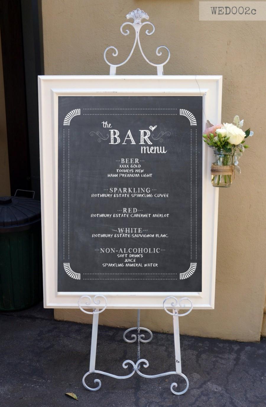 Mariage - Bar Menu / Wedding Bar Sign / Cocktail Signature Drinks Menu / Chalkboard Bar Poster by Mint Imprint / CUSTOMISED Printable Wedding Sign