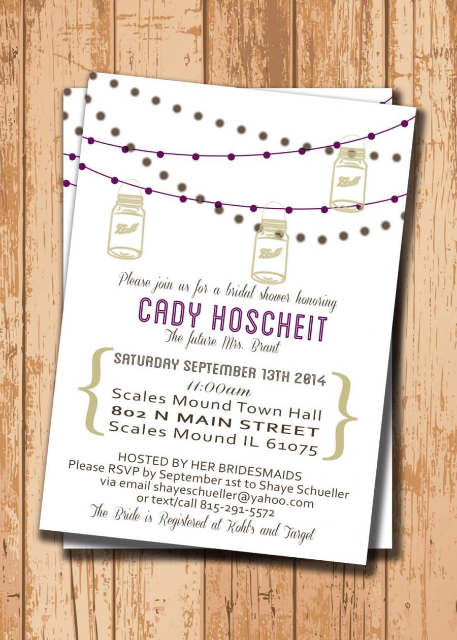 Wedding - Wedding Shower Invitation. Bridal Shower Invitation. Shower Invite. Printable Invitation. Mason Jar Invite. DIY Wedding. Purple Invitation