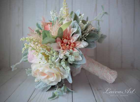 Wedding - Wedding Flowers Bridal Bouquet Wedding Bouquets Peonies Roses Artificial Bouquet with Boutonniere Blush Pink Brooch Bouquet