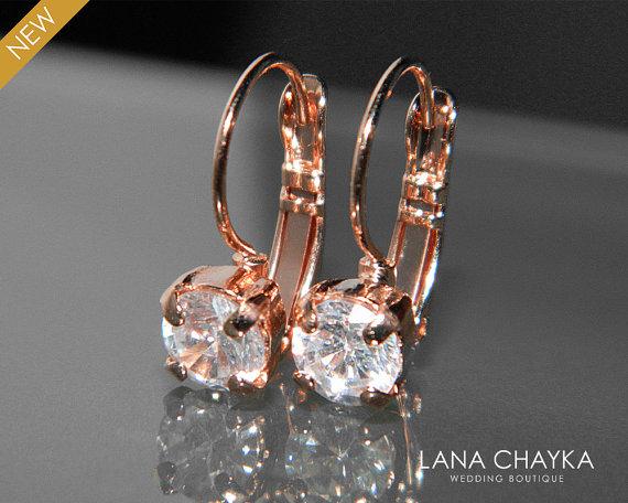 Wedding - Rose Gold Cubic Zirconia Small Earrings Leverback CZ Wedding Earrings Rose Gold Bridal Earrings Clear CZ Earrings Rose Gold Crystal Jewelry