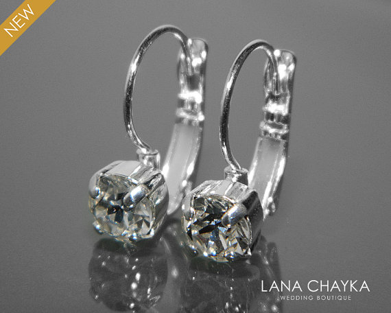 Wedding - Clear Crystal Earrings Silver Leverback Small Crystal Earrings Swarovski Rhinestone Earrings Bridal Jewelry Wedding Crystal Earrings