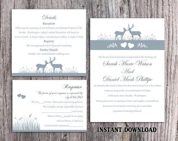 Mariage - DIY Wedding Invitation Template Set Editable Word File Download Printable Reindeer Invitation Gray Wedding Invitation Blue Invitations
