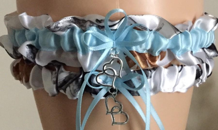 Mariage - True Timber Snowfall Blue Camouflage Wedding Garter Set, Bridal Garter Set, Camo Garter, Keepsake Garter, Prom Garter