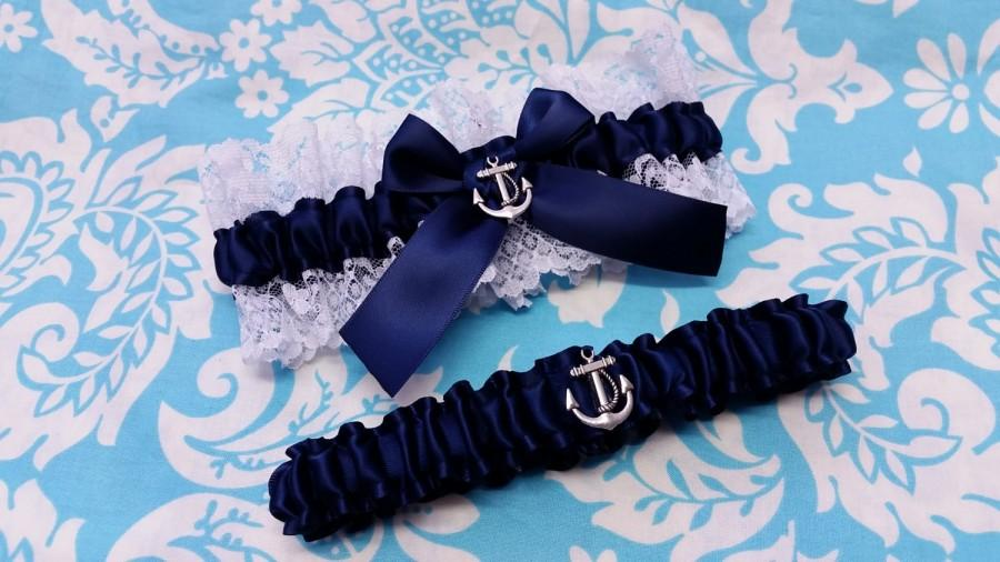 Mariage - nautical Wedding Garter SET , beautiful navy and white or ivory Nautical themed garter set, anchor garter, sailor garter