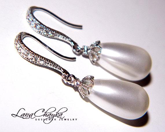 زفاف - Wedding White Teardrop Pearl Earrings Swarovski Pearl Bridal Earrings White Pearl Cz Sterling Silver Earrings Bridal Jewelry Pearl Earrings