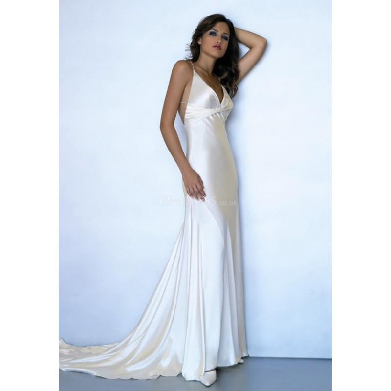 Spaghetti straps floor length empire waist sheath column for Satin silk wedding dresses