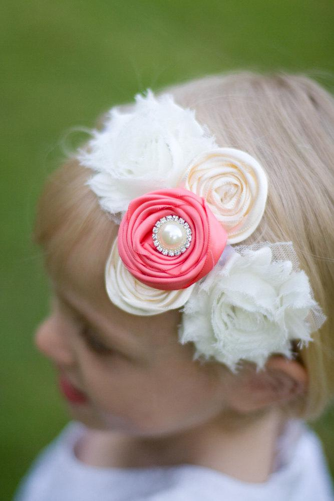 Mariage - You Choose Color Flower Girl Headband, Shabby Chic Rose Flower girl Headband, Flowergirl Headband