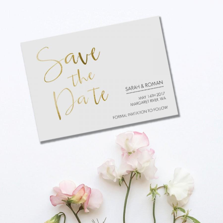 Wedding - Wedding, Save The Date, DIY Printable, Save The Date, Print at Home, Invite, Calligraphy, Handwritten, Gold Foil, Water Colour, Stationary