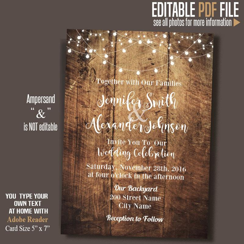 Wedding Invitation Rustic Wood And Lights Barn Wedding Instant
